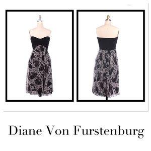 Diane Von Furstenburg Strapless Silk Dress